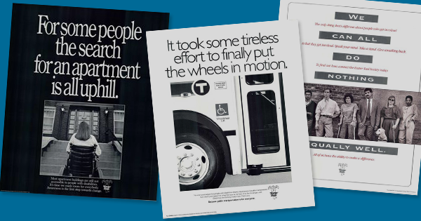 Small images of Easterseals campaign posters  about the ADA