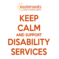 keep calm and support disability services