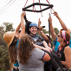 Photo of fun with the camp zipline