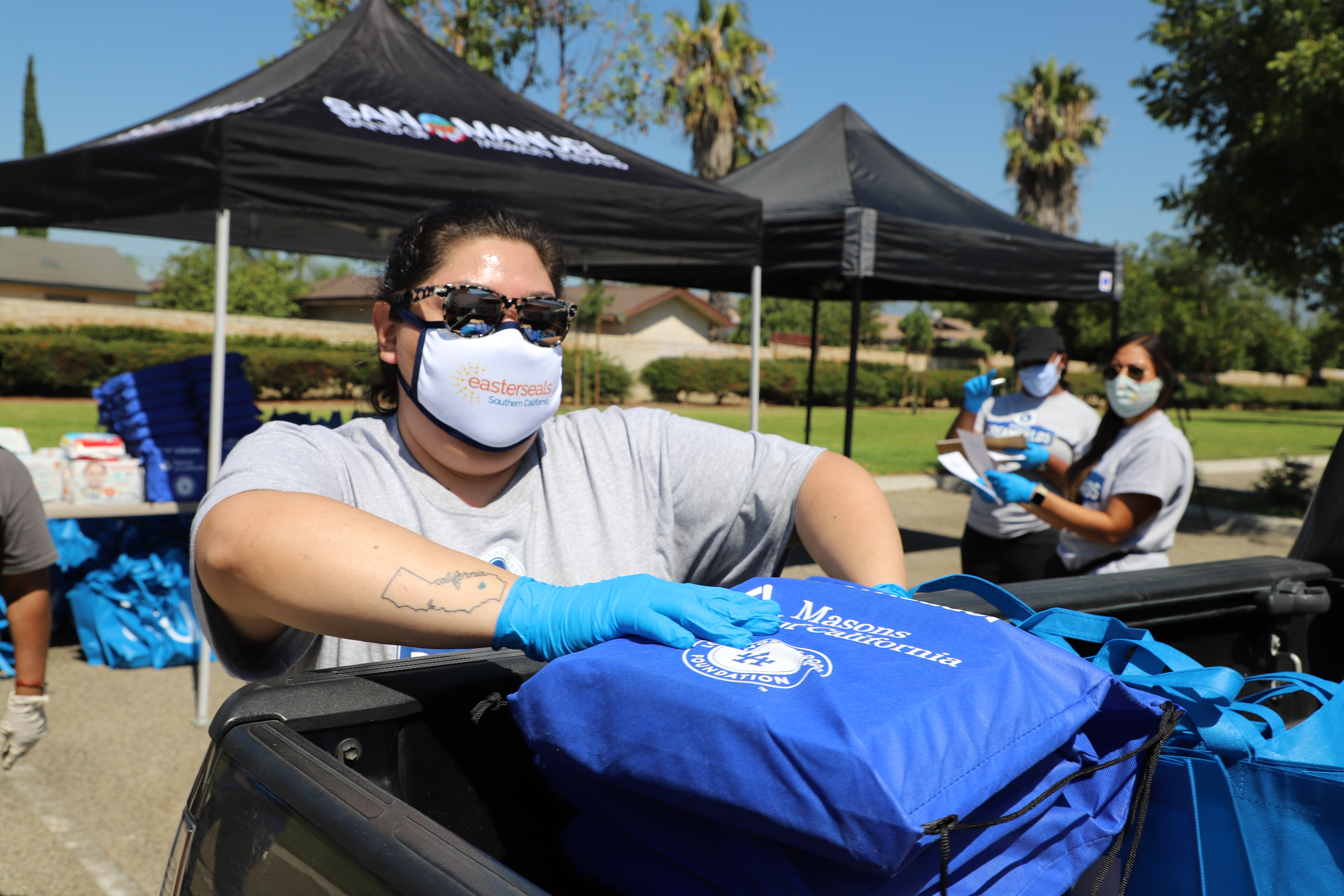 Volunteer stuffing bag with personal care items