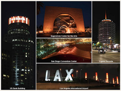 Collage of Southern California Landmarks Turned Orange for Easterseals 100th Anniversary Commemoration on April 21