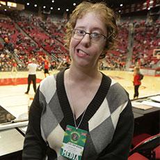 Photo of Liz at her sportswriter job