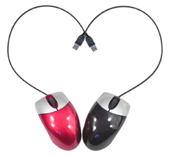 Two computer mice forming a heart with their USB cables
